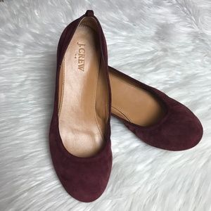 J. Crew Anya Suede Ballet Flats in Cabernet